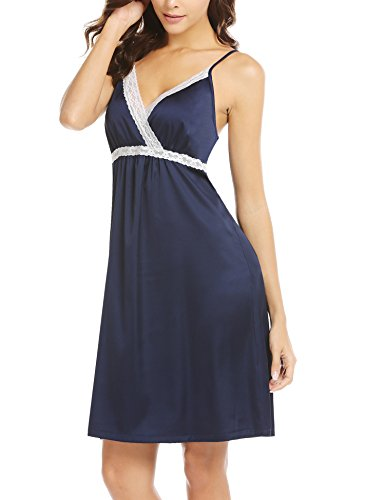 ba241d21c9 Galleon - Hotouch Womens Chemise Sleepwear V-Neck Nightgown Full Slip Lace  Lounge Sleepwear Dress Navy Blue M