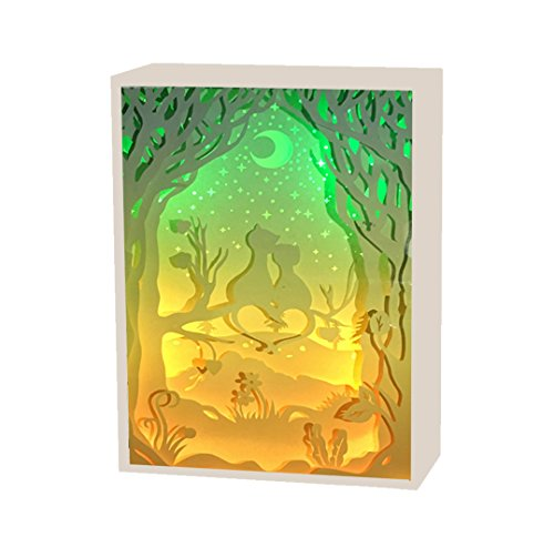 BOSHENG Papercut Light Boxes, 3D Shadow Box Led Light Night Lamp, Decorative Mood Light for Kids and Adults, Baby Nursery Kids Bedroom Living Room Night Light,Valentine's Day (Large)