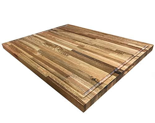 24 x 30 Cutting Board Builder Oak Butcher Block - Solid Butcher Block w/Juice Groove ()
