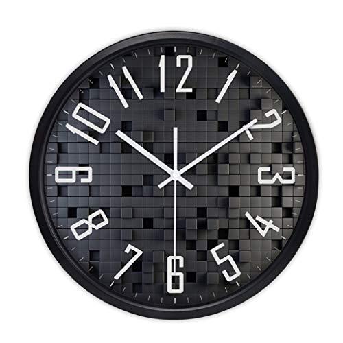 FJKAHGA Round Quartz Battery Wall Clock, Black Dial, White Coloured Hands & Arabic Numerals with Quiet Sweep Seconds Hand (White Plain Arabic Dial)