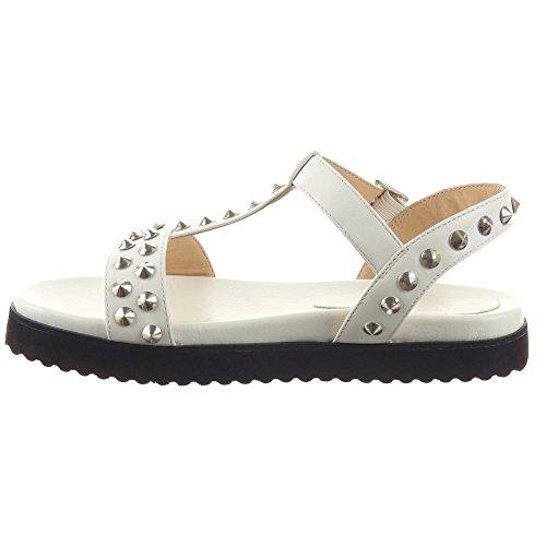Sopily - Zapatillas de Moda Sandalias correa Zapatillas de plataforma Tobillo mujer tachonado Talón Plataforma 2 CM - Blanco