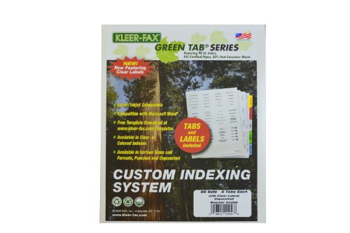 Kleerfax Custom Indexing System 5 TAB SET Unpunched Translucent Labels White ST
