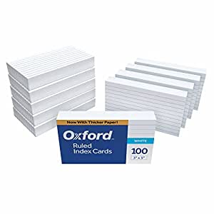 """Oxford Ruled Index Cards, 3"""" x 5"""", White, 1,000 Cards (10 Packs of 100) (31)"""