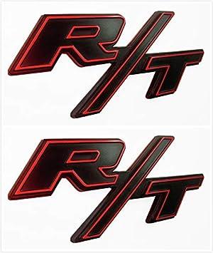 Qptimum D-RT-BR 2X RT R//T Fender Trunk Emblem Badge Sticker Decal Fit for Challenger Charger Avenger Red