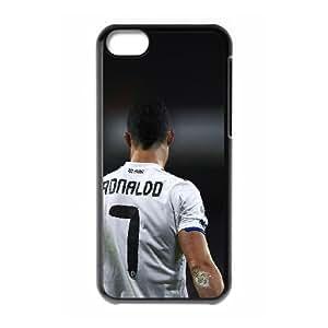 caja del teléfono celular J7X6LV Fútbol iPhone 5C Phone Case Funda Negro Cristiano Ronaldo Real Madrid personalizada Funda protectora