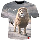 Summer Men T-Shirts 3D Print Animals Lion Tees Short Sleeve Casual Funny T-Shirt Fitness Tops Plus Outwear(Photo Color-S)