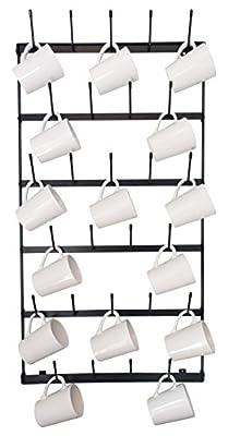 Wall Mounted Mug Rack - 6 Row Metal Storage Display Organizer For Coffee Mugs, Tea Cups, Mason Jars, and More. By Mug Mount