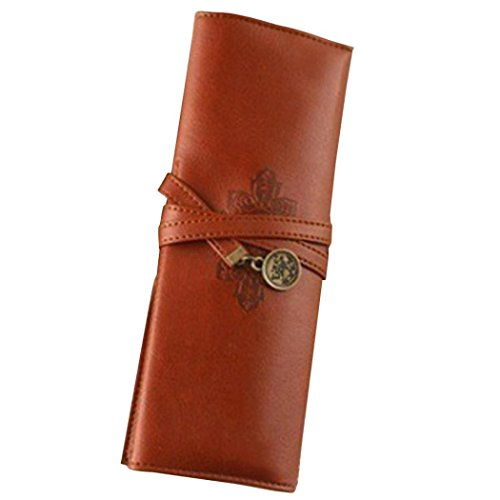 Gbell Retro Vintage Roll Leather Make Up Cosmetic Pencil Case, Pouch Purse Pen Bag Box for Girls Women (Coffee)