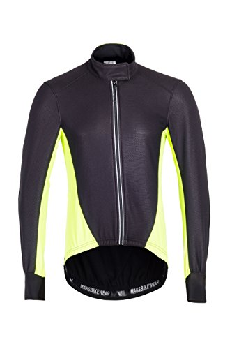 Thermal Cycling Jersey Long Sleeve Snow Water Reflective Windproof Firewall Winter Biking Jacket (Black-Fluorescent, Medium)