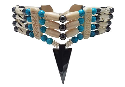 4 Row Buffalo Bone Hairpipe Beads Traditional Tribal Choker Necklace with Arrowhead Pendant