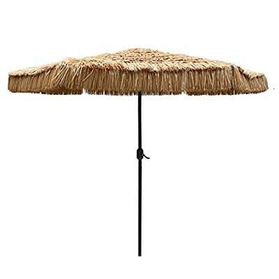 "Le Papillon 9-Foot Tiki Hawaiian Patio Umbrella Thatched Umbrella - 9' diameter canopy thatch umbrella with black rust- free powder coated finish. 1.5"" diameter steel center pole and 6 sturdy steel ribs provide enhanced durability and extended protection from harmful elements Canopy material will not fade in color. - shades-parasols, patio-furniture, patio - 41Y0LLznpsL. SS400  -"
