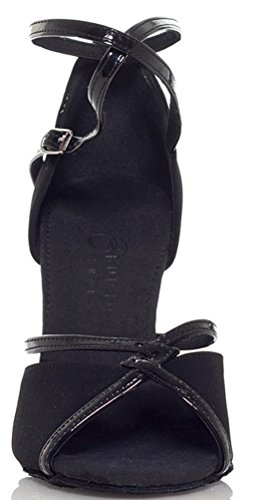 Salabobo YYM-L194 Womens Latin Ballroom Party Wedding Cha-cha Peep Toe Mid Heel Satin Dance Shoes Black uT9dDnN
