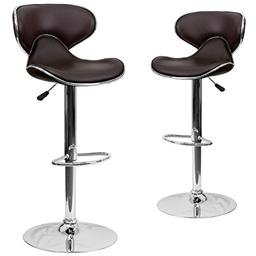 2 Pk. Contemporary Cozy Mid-Back Brown Vinyl Adjustable Height Bar Stool with Chrome Base ()
