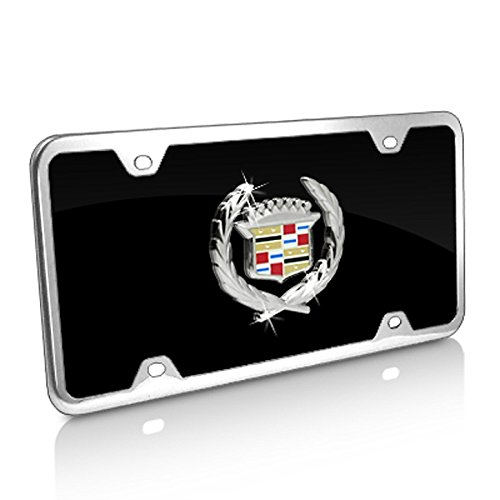 (Cadillac Classic Logo Black Acrylic License Plate with Chrome Frame Kit)