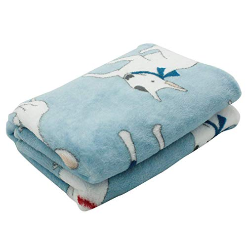 Scheppend Fluffy Flannel Fleece Pet Dog Bed Throw Blanket Cover for Couch, 29.5 x 39.5 Inches Cute Animals Design Doggy Blankets for Small Medium Puppy Cats (Light Blue, Bull Terrier)