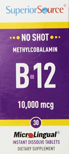 Superior Source No Shot Methylcobalamin Vitamin B12 Tablets, 10,000 mcg, 30 Count (Pack of 3) by Superior Source