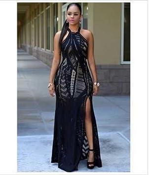 cb3bc02e3d9 GA&GA Black Lace Nude Illusion Key-Hole Back Maxi Dress , black ...