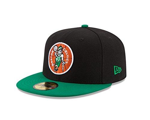 NBA Boston Celtics Hardwood Classics 2Tone Basic 59FIFTY Fitted Cap, 8, Black/Green (Hardwood Classic Hat)