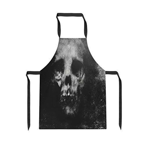 Pinbeam Apron Zombie Scary Halloween Spooky Skull Face Death Effect with Adjustable Neck for Cooking Baking Garden