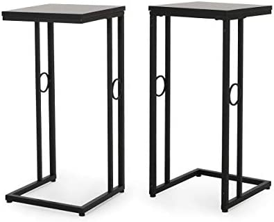 Christopher Knight Home Agnes Modern C Side Table, Set of 2, Black
