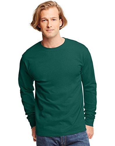 (Hanes 6.1 oz. Tagless ComfortSoft Long-Sleeve T-Shirt, Large, DEEP FOREST)