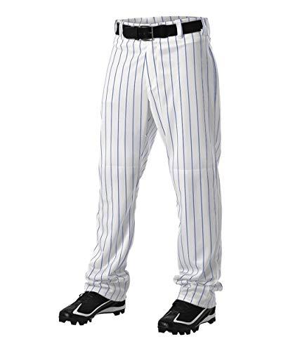 (Alleson Athletic Adult Pinstripe Baseball Pant, White/Royal, Medium)