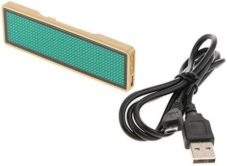 LED Abzeichen Name Tag Scrolling Bar KTV Abzeichen Message Board Display Zeichen (1 Stück) - Gold Shell Grün