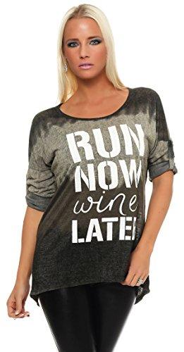 IKONA21 - Fashion Italy Damen Shirt Bluse Tunika Longshirt Onesize S M L XL 36 38 40 42 44 500 412