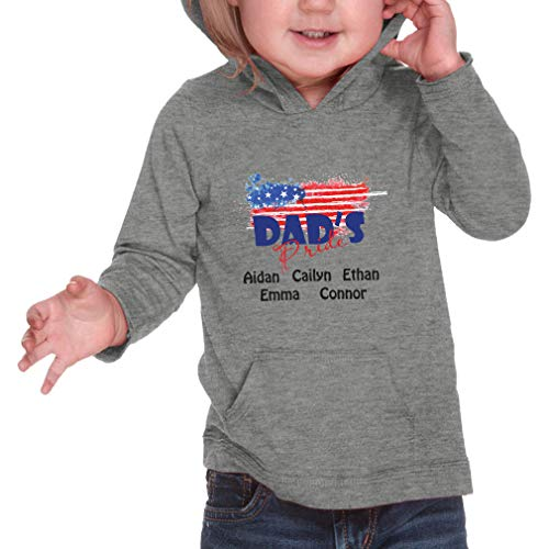 (Personalized Custom Dad's Pride American Flag Long Sleeve Hooded Boys-Girls Cotton/Polyester RawEdge Hoodie Sweatshirt - Heather Gray, 6 Months)