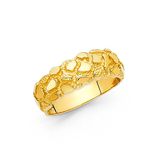 14k Yellow Gold Nugget Solid Ring Band Textured Diamond Cut Polished Fancy Design 7MM Size 11 (Yellow Nugget Ring Gold)