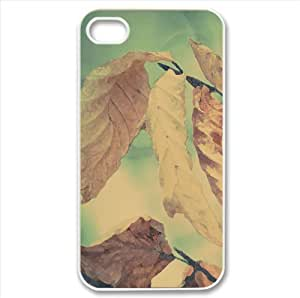 Snow On Dried Leaves Watercolor style Cover iPhone 4 and 4S Case (Autumn Watercolor style Cover iPhone 4 and 4S Case)