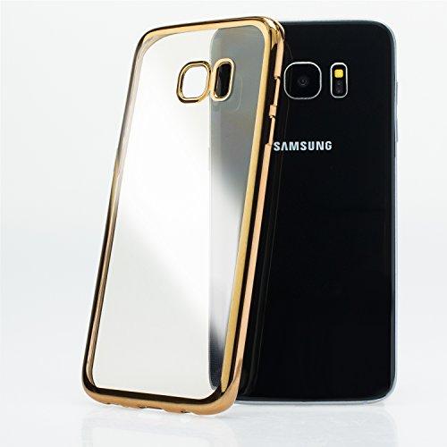 Mobilefox farbiger Rand Schutzhülle TPU Case Samsung Galaxy S7 gold