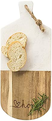 Love Home Marble  Acacia Serving Board