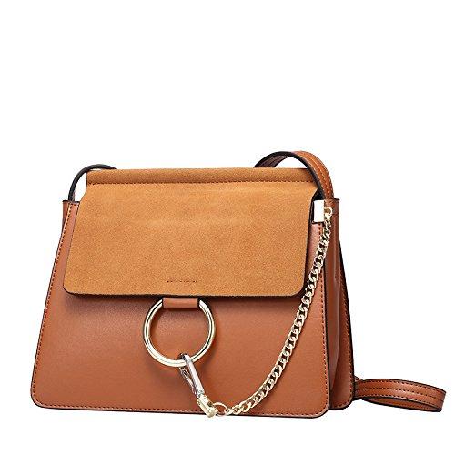 GUANGMING77 _Tasche Handtasche Schultertasche Milchglas Kleine Kette brown
