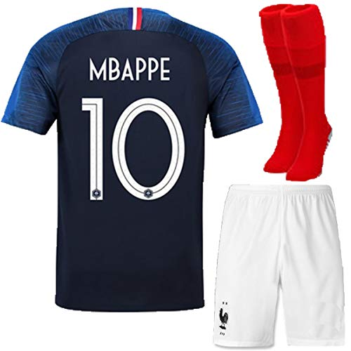 FC FirstClass 2018 Football Soccer Club Navy Blue Home Kit Short Sleeve Jersey Outfit Kids 3-12 Years Suit &Socks Free Ice Face Cloth (9-10 years, MBAPPE 10) for $<!--$19.99-->