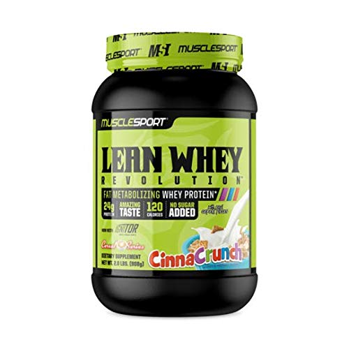 (MuscleSport Lean Whey Revolution™ Protein Powder, Whey Protein Isolate, Fat Burning, Weight Loss, Low Calorie, Low Carb, Low Fat, Incredible Flavors (2LB, Cinna Crunch))