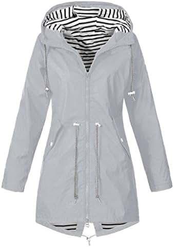 Outerwear for Women Jacket Solid Rain Outdoor Plus Size Waterproof Hooded Windproof Loose Coat Fashion Tunic
