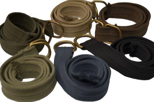 Mens Thick D-Ring Light Olive Canvas Belt (Cotton Blend Belt)
