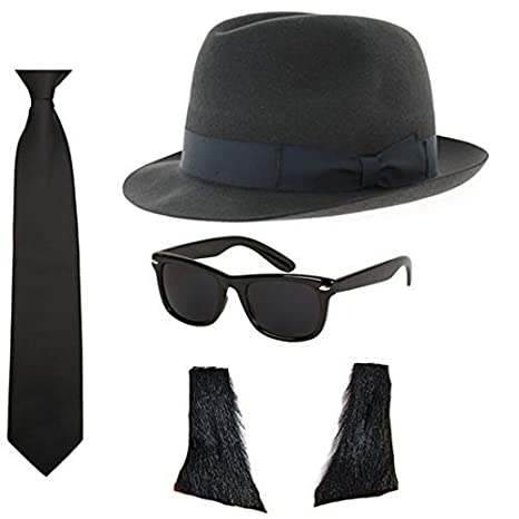 2a36bc9dbd Blues Brothers Hat Sunglasses Tie Sideburns Fancy Dress Costume   Amazon.co.uk  Toys   Games