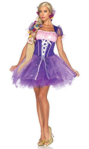 Leg Avenue Disney Rapunzel Costume Peasant Dress with Glitter Skirt with Tulle Overlay, Purple, Small