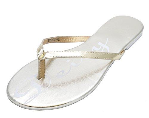 Ladies Flat Gold Toe-Post Slip-On Sandals Flip-Flops Slider Mules Shoes Sizes 2-8