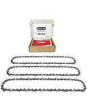 OREGON 3 x AdvanceCut zaagketting .3/8 inch standpunt, 043 inch (1,1 mm) meter, 52 aandrijfkoppelingen voor 35 cm (14 inch) Bar, lage Kickback kettingzaagkettingen