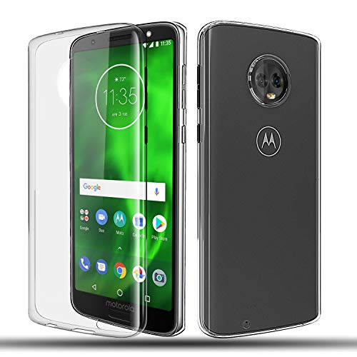 Motorola Moto G6 Clear Soft TPU Case, Moto G6 Case Rubber Gel Silicon Transparent Flexible Thin TPU Phone Case with HD Screen Protector,Clear ()