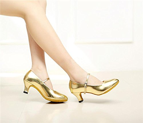 Heeled Latin Jane Shoes Dance Mary Glitter Gold Dancewear Ballroom Salsa Tango Heel Women Low Shoes 81Oqx