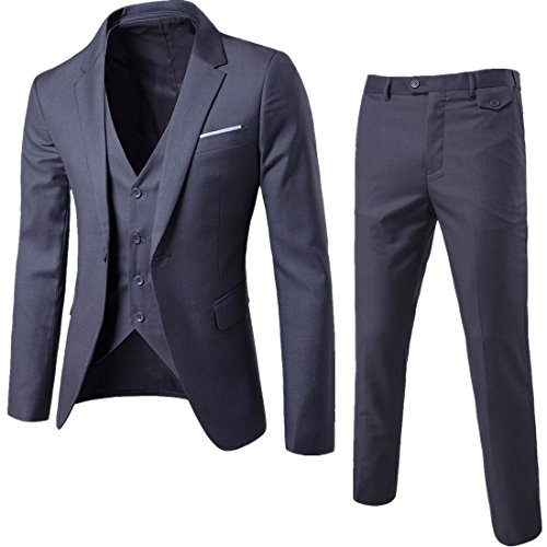 WULFUL Men's Suit Slim Fit One Button 3-Piece Suit Blazer Dress Business Wedding Party Jacket Vest & Pants Dark Grey (Best 3 Piece Suits For Men)