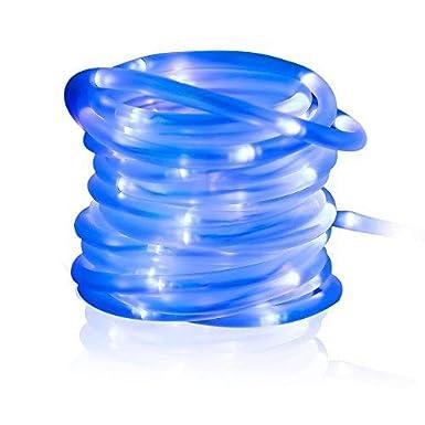 MEIKEE 100 LED Solar Lichtschlauch, 33 ft, 8 Modi Solar Lichterschlauch 100 LEDs mit Speicherfunktion IP55 Lichterkette mit Sonnenkollektoren für Innen & Außen zum Schmücken von Weihnachten, Party Blau [Energieklasse A+] [Energieklasse A++]