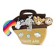 Noah's Ark Toy Talking Plush Animals Baptism Gift for Baby Girl or Boys with Bonus God's Promise Plush Rainbow by Fote (Ark with Bonus Rainbow)