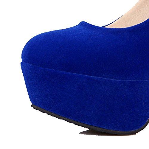 AllhqFashion Mujeres Puntera Redonda Sin cordones Sólido Tacón de aguja De salón con Metal Azul