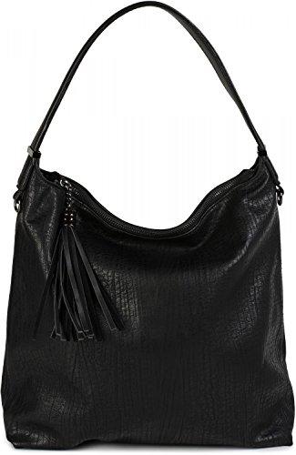 styleBREAKER bolso de mano estilo hobo bag en apariencia desgastada vintage, borla, bolso de asa, bolso para compras, bolso, de señora 02012149, color:Camel Negro