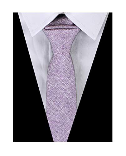 Men's Pink Purple Cotton Clothing Tie Handmade Beautiful Formal Necktie for Guys from Kihatwin